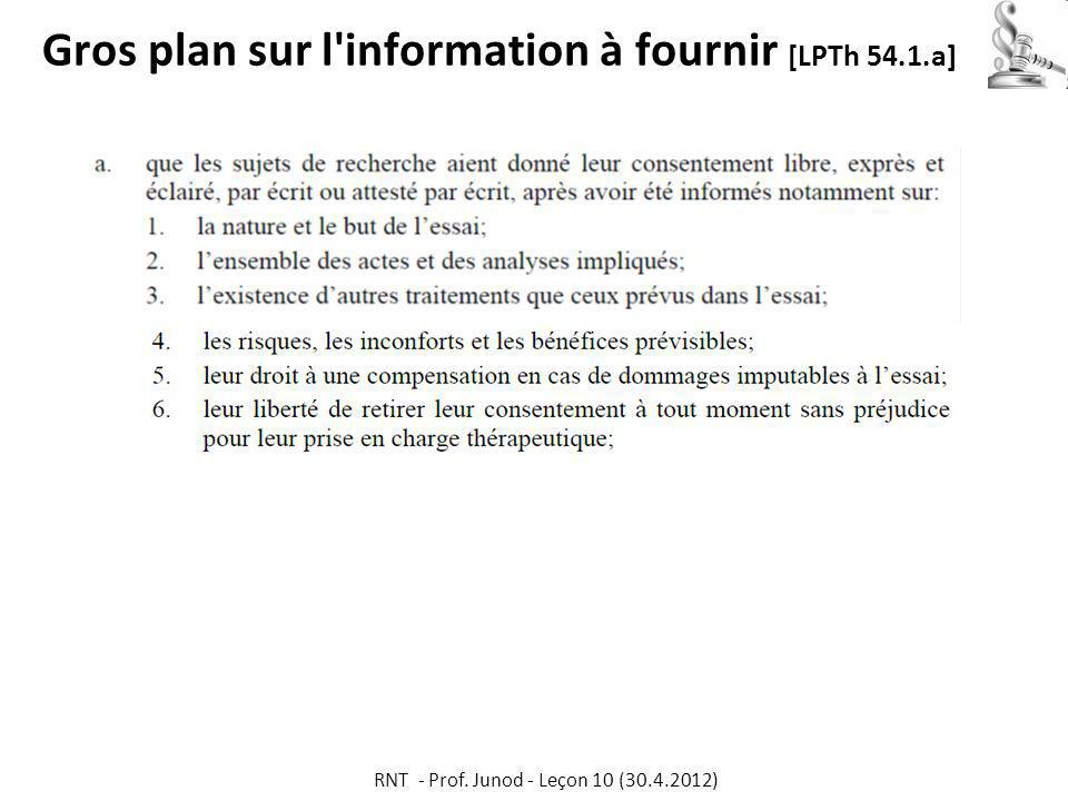 Gros plan sur l information à fournir [LPTh 54.1.a]